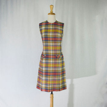 Vintage 60s Mod Madras Plaid Scooter Dress School Girl