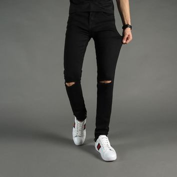 High Street Fashion Mens Jeans Black Color Denim Knee Hole Ripped Jeans Men DSEL Brand Skinny Fit Stretch Ankle Zipper Jeans