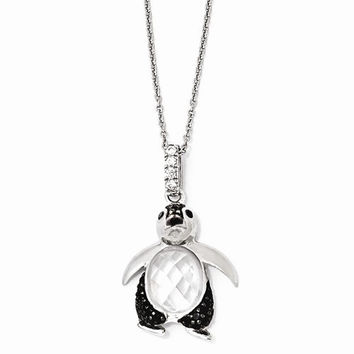 Sterling Silver CZ & Rhodium Penguin 18in. Necklace