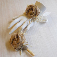 Burlap & Babies Breath Wedding Wrist Corsage and/or Boutonniere, for Rustic, Country, Bohemian, Woodland, Style Weddings. Made to Order.