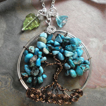 Tree of Life Pendant -Wire wrapped Necklace-Turquoise Gemstone-December Birthstone