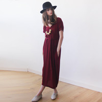 Bordeaux Maxi Knitted dress , Short sleeves dress , Red maxi dress , Casual winter dress