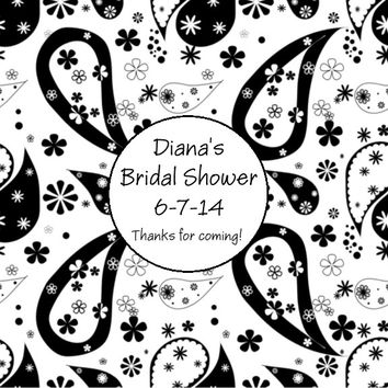 Black and White Bridal Shower Favor Tags