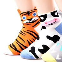 Tiger Shaped Cute Animal Short Cotton Socks for Women   DOTOLY