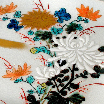 Japanese Porcelain Plate Vintage Hand Painted Decorative Floral Signed