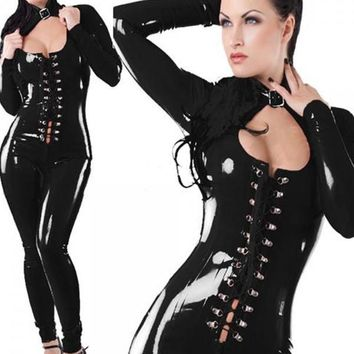 Sexy Cosplay Bandage Long Sleeves Jumpsuit Costume Lingerie Black
