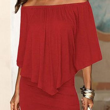 Casual Burgundy Irregular Boat Neck Short Sleeve Off Shoulder Bodycon Fashion Mini Dress