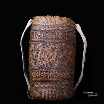 "Borneo Basket 16"" AJAT Light Traveling Rattan Basket/Bag/BackPack Ornate Fine 2mm Rattan Strand Plaitwork Art From Penan Tribe Rainforest"