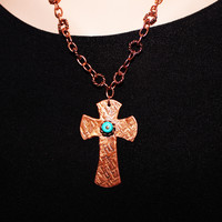 Textured Copper and Turquoise Cross Pendant
