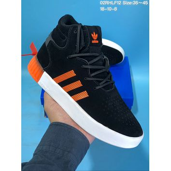 HCXX A419 Adidas Tubular Invade Yeezy 750 Hight Suede Skate Shoes Black Orange