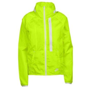 Nike Womens Tech Aeroshield Moto Cape Wind Running Jacket, Yellow, M, 699882 702