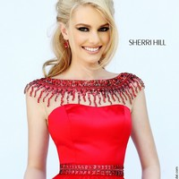 Sherri Hill 32138 Bateau Neck V-Back Brush Train Beaded Decolletage