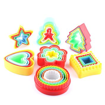 5pcs/set Round Stars Christmas Tree Mould Fondant Cake Biscuit Baking Cookie Plunger Cutter Decor Various Food Grade ABS Mould