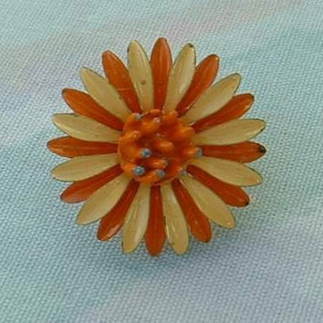 Yellow Orange Daisy Enamel Flower Ring Adjustable Floral Vintage Jewelry