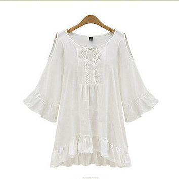 2016  Women Loose Flounce Sleeve MIni  Pleated Off Shoulder Summer Blouse Shirt Tops Pluse Size
