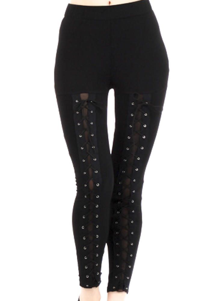 Black Lace Up Corset Leggings From Dysfunctional Doll