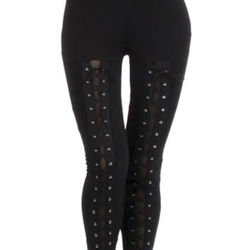 Black Lace Up Corset Leggings