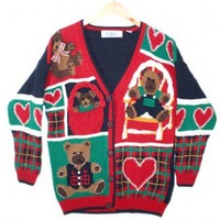 Teddy Bears and Hearts Vintage 90s Chunky Tacky Valentines Ugly Sweater Women's Size Large/XL (L/XL) $25 - The Ugly Sweater Shop
