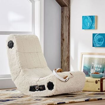 Ivory Sherpa Faux-Fur Modern Media Chair