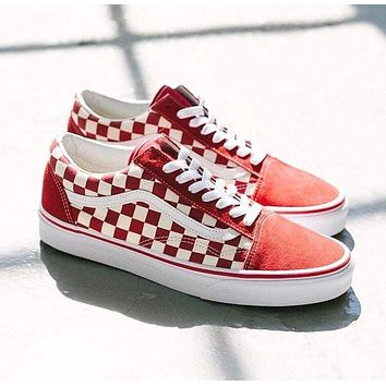 Vans street fashion men's and women's low-cut lace-up canvas shoes red