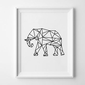 Modern Geometric Elephant Wall Art, Scandinavian Black Art, Canvas Oil Painting Bedroom Wall Pictures for Living Room Home Decor