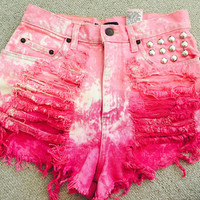 Super gorgeous high rise vintage Bill Blass pink ombre distressed shorts with studs and bleached