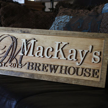 Personalized Bar Sign Rustic Custom Carved Wooden Pub Sign Personalized Housewarming Cabin Rustic Pub Wood Bar Decor Beer Decor Wine Cellar