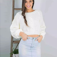 Winter Knit Tops Crop Top Twisted Lights Thicken Sweater [9176491844]