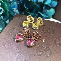 2018 Charm Gucci Women Rose Crystal Rhinestone Fashion Stud Earring cartilage hoop stud drop Jewelry