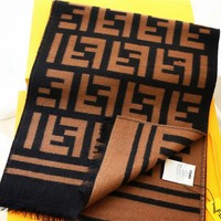 FENDI hot seller of fashionable men's and women's woollen jacquard knitted two-sided pin-color shawl scarves