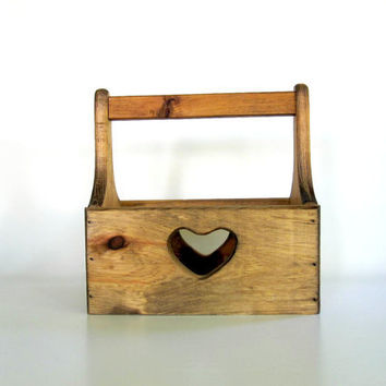 Tote Box Tool Box  Wooden Garden Crate  by LoveButlerVintage