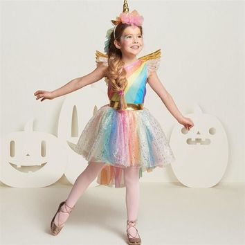 New Girls Sequins Colorful Party Dress Halloween Carnival Costumes Unicorn Fancy Prom Gowns Girls Cosplay Dresses for Girls 3 8Y