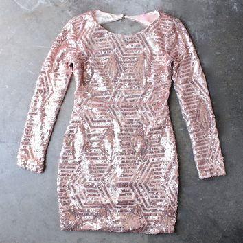 rose gold sequin longsleeve bodycon dress