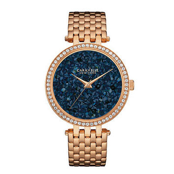 Ladies' Caravelle New York™ Crystal Accent Rose-Tone Watch with Textured Blue Dial (Model: 44L186) - Save on Select Styles - Zales