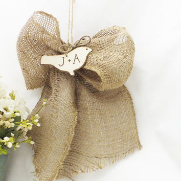 Burlap Pew Bows With Personalized Love Birds Set Of Two- Burlap Wedding Decor - Barn Wedding Decor- Rustic Wedding Decor