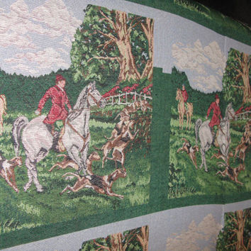 Fox Hunt Tapestry Upholstery Fabric Pillow Squares Panel By The Yard Equestrian Horse English Hunt