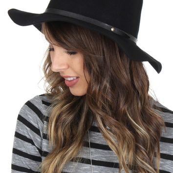 Wide Brim Band Fedora Black