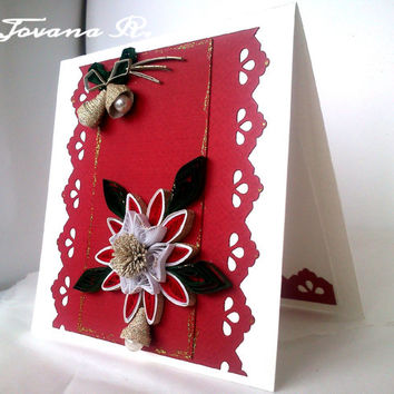 Unique handmade Christmas  card, New Year card
