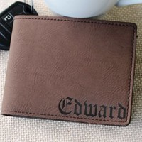 Custom Personalized Brown Leather Bi-Fold Men's Leather Wallet - Monogrammed Groomsman Fathers Day Gift - Engraved for