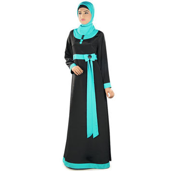 Asifa Black Abaya Ay317 Modern Islamic Dress| Formal and Occasion Wear| Muslim Clothing| Pockets| Bow Attached| Dual Color Burqa| Jilbab