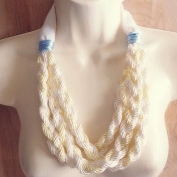 Vintage Pastel Rope Fabric Necklace