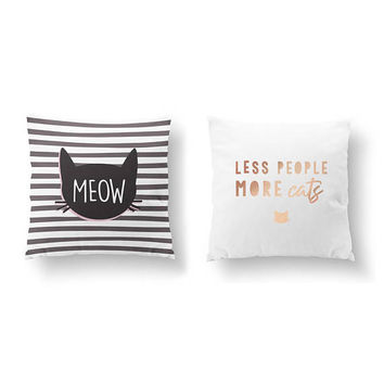 SET of 2 Pillows, Cat Quote, Bed Pillow, Throw Pillow, Cushion Cover, Cat Mom, Kitty Pillow, Less People More Cats, Gold Pillow, Cat Lover