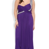 Plus Size Long Prom Dress with One Shoulder Strap with Stones
