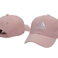 Pink Adidas Embroidered Unisex Adjustable Cotton Sports Cap Hat