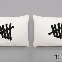 Tally Mark Pillowcases - 5SOS Hand Pulled Screen Printed Pillow Case Set for Double or Queen Sized Bed