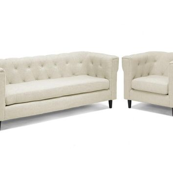 Baxton Studio Cortland Beige Linen Modern Chesterfield Sofa Set Set of