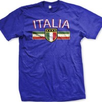 Italia Crest International Soccer T-shirt, Italy Soccer Mens T-shirt