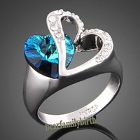 Valentine's Gift Blue Heart Love Crystal Ring 18K Alloy Bridal gift R1766