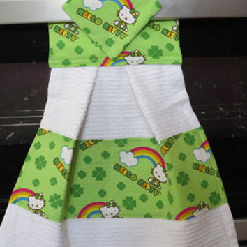 Kitchen Towel,Saint Patrick's Day Kitchen Towel, Hanging Dish Towel, Tie Towel,Hanging Tea Towel, Hanging Hand Towel