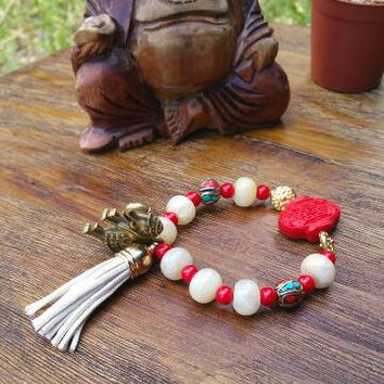 Double Happiness Red Charm Bracelet/Brass Elephant Charm/Ivory Leather Tassel/Gold Hamsa Charm/Yellow Jade Stones